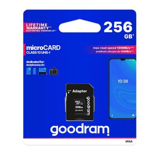 GOODRAM Memóriakártya SDXC 256GB CL10 UHS-I + adapter
